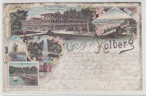 45827 Ak Lithographie Gruß aus Kolberg Hotel & Pension 1898