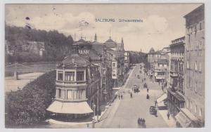 78351 AK Salzburg - Schwarzstraße, Straßenansicht mit Bank und Hotels 1920