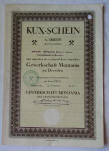 KUX-Schein Aktie der MEHAG Gewerkschaft Montania zu Dresden 31.12.1927 (111766)