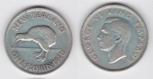 1 Florin Silber Münze Neuseeland Kiwi, George VI. 1940 (119856)