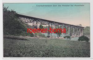 83073 Ak Eisenbahnbrücke über das Niddatal bei Assenheim 1913