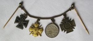 Seltene 4er Miniaturkette 1. Weltkrieg Sachsen Eisernes Kreuz um 1918 (110532)