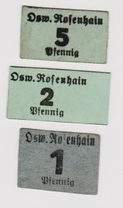 1, 2 & 5 Pfennig Banknoten Notgeld Osw. Rosenhain Groitzsch ohne Datum (120365)
