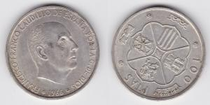 1 Peseten / Ptas Silber Münze Spanien 1966 (122756)