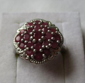 Eleganter 925er Sterling Silber Ring mit 21 Magenta-Granaten (113663)