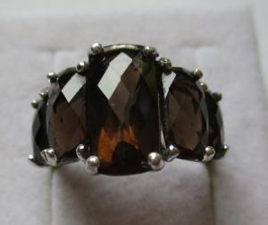 Hochwertiger 925er Sterling Silber Ring mit 5 Rauchquarzen (126440)