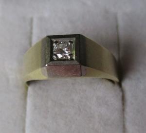 Eleganter Bi-Color 585er Gold Ring mit Brillantschliff Diamant (115968)