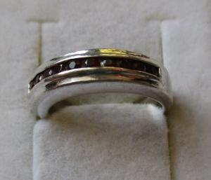 Hochwertiger 925er Sterling Silber Ring Granatschmuck 10 Granate (126409)