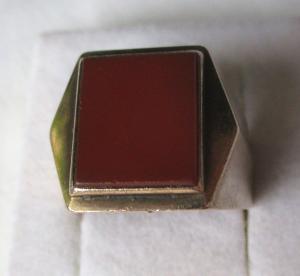 Auffälliger 333er Gold Ring Siegelring mit großem Achat? (112211)