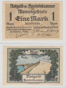 1 Mark Banknote Notgeld Memelgebiet Memel 22. Februar 1922 (135751)