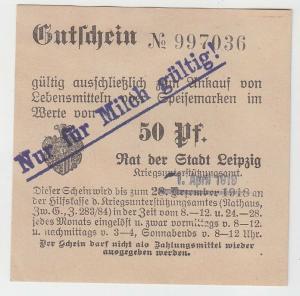 50 Pfennig Lebensmittel Gutschein Stadt Leipzig 1.April 1919 (120765)