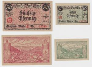 10 + 50 Pfennig Banknote Notgeld Stadt Bad Ems 18. November 1918 (135909)