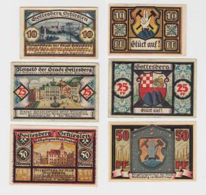 10 - 50 Pfennig Banknoten Notgeld Stadt Gottesberg Boguszów 1921 (136119)