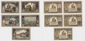 5 Banknoten Notgeld Schmiedeberg i.R. Denkmalausschuß o.D. 1922 (121228)