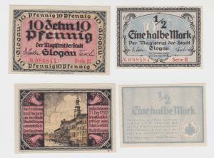 10 Pfennig + 1/2 Mark Banknoten Notgeld Stadt Glogau Glogów 1916 - 1918 (135881)