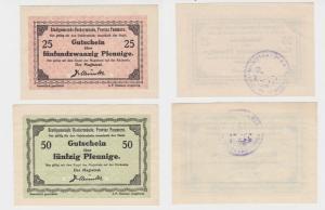 25 + 50 Pfennig Banknoten Notgeld Stadt Ueckermünde Pommern 1920 (137899)