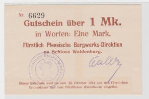 1 Mark Banknote Notgeld Fürstl. Bergwerks-Direktion Schloss Waldenburg (137873)