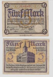 5 Mark Banknote Großnotgeld Kreis Reichenbach (Schlesien) (137690)