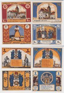 4 Banknoten Notgeld Stadt Köslin Koszalin 1921 (121367)