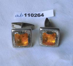 Art Deco Manschettenknöpfe 835er Silber Bernstein Fischlandschmuck (110264)
