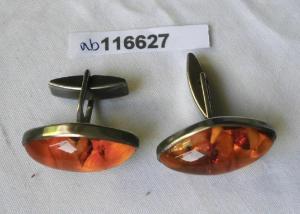 üppige Manschettenknöpfe 835er Silber Bernstein Fischlandschmuck (116627)