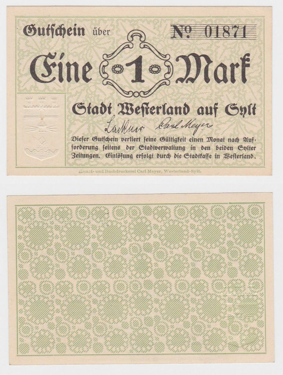 1 Mark Banknote Notgeld Stadt Westerland auf Sylt um 1920 (122366) 0