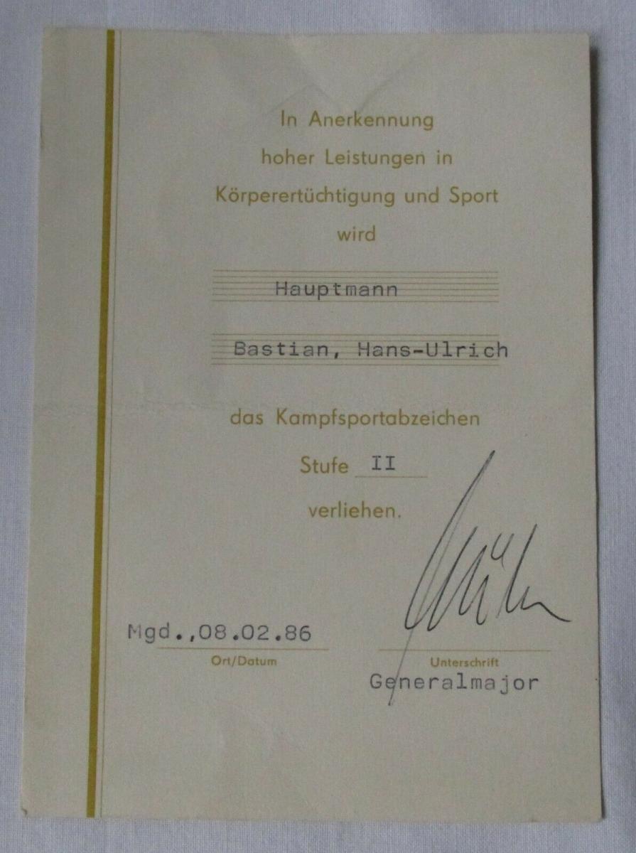 DDR Urkunde Hauptmann Kampfsportabzeichen Stufe II Bartel II Nr. 4 c (102068) 0