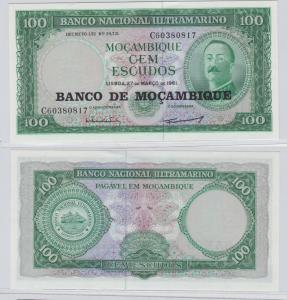 100 Escudos Banknote Mosambik Moçambique 1961 bankfrisch UNC Pick 117 (138088)