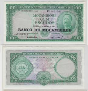 100 Escudos Banknote Mosambik Moçambique 1961 bankfrisch UNC Pick 117 (138247)