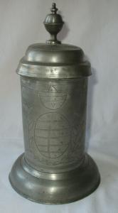 Antiker Zinnkrug Walzenkrug Sachsen Wappen Meistermarken 1842 (134499)