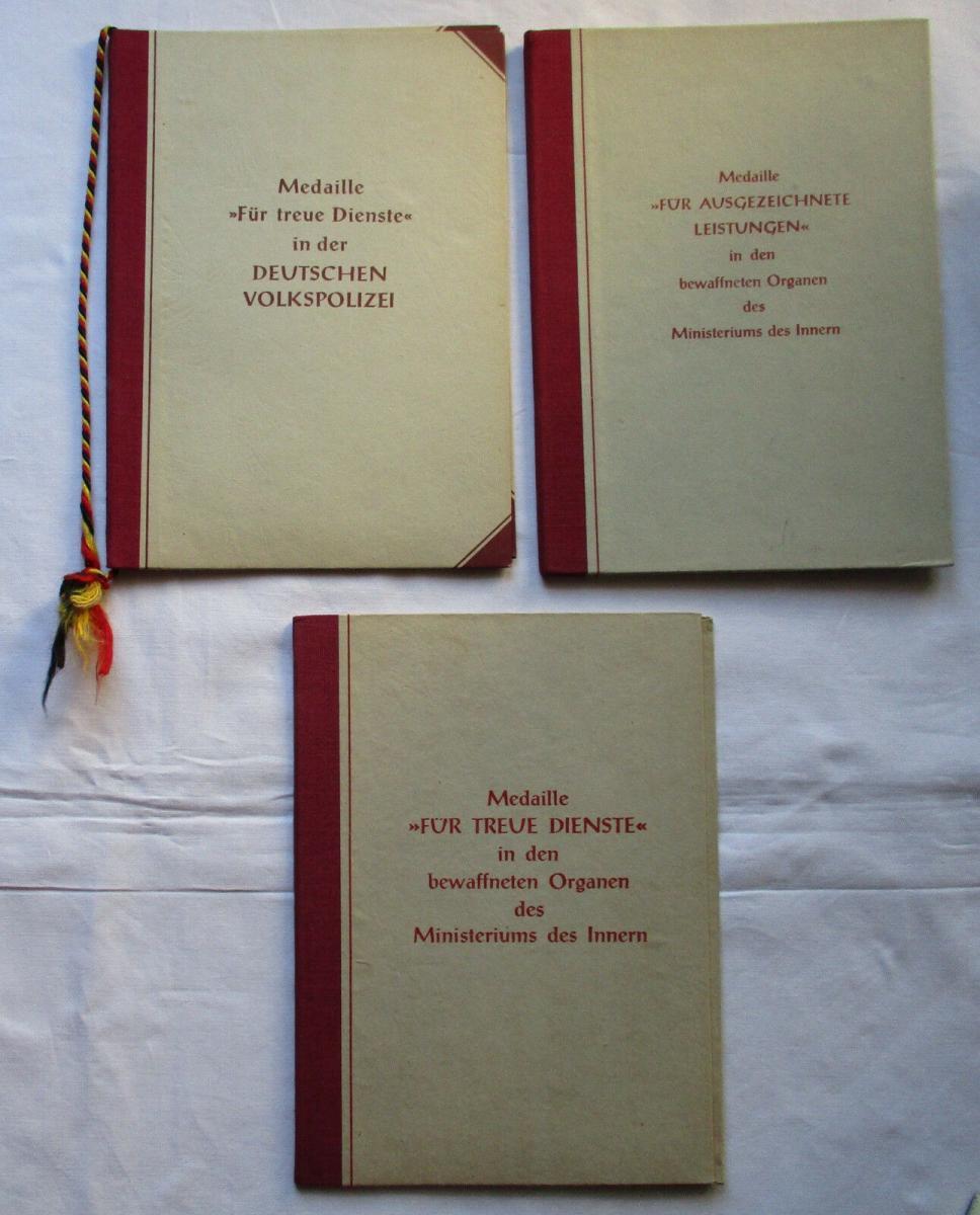 3 x DDR Urkunden und Treuedienstmedaillen des MdI 1955-1962 (126280) 0
