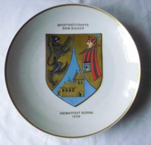 Rarer Porzellan Teller Heimatfest Borna 1938 Sportwettkämpfe dem Sieger (111729)