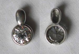 Hübscher Damen Kettenanhänger 925er Silber mit großem weißen Stein (118696)