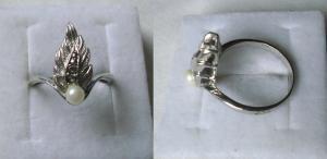 Fantastischer Damenring 835er Silber Blattform mit kleiner Perle (119038)