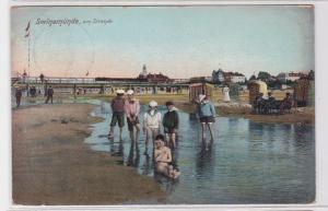 47566 Ak Swinemünde Swinoujscie am Strande 1908