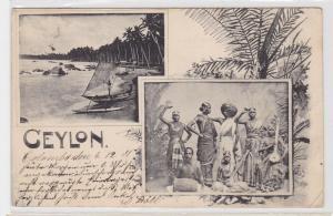 91806 AK Ceylon (Sri Lanka) - Inseleinwohner & Strandpanorama 1901