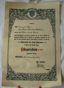 Bürgerschein Bürgerrecht der Stadt Olbernhau 20.September 1903  (110385)