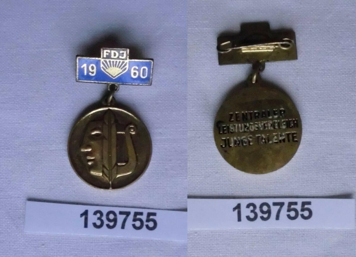 DDR FDJ Abzeichen Leistungsvergleiche junger Talente 1960 in Gold (139755) 0