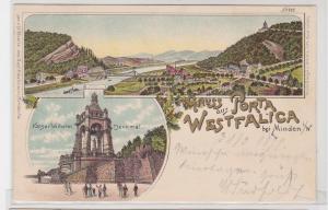92048 Ak Lithographie Gruss aus Porta Westfalica bei Minden i.W. 1899
