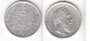5 Mark Silbermünze Württemberg König Karl 1875 Jäger 173  (111233)