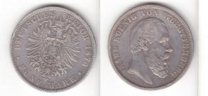 5 Mark Silbermünze Württemberg König Karl 1876 Jäger 173  (110964)