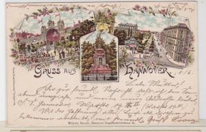91811 Ak Lithographie Gruß aus Hannover Georgstrasse usw. 1899