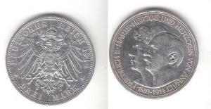 3 Mark Silbermünze Anhalt Silberhochzeit 1914 Jäger 24  (111499)