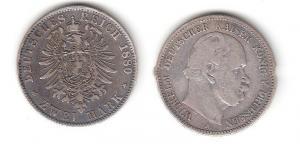 2 Mark Silbermünze Preussen Kaiser Wilhelm I. 1880 A Jäger 96  (111650)