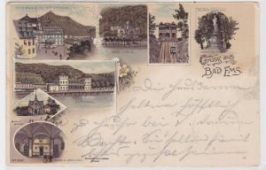 92049 Ak Lithographie Gruss aus Bad Ems Kurhaus, Kirche usw. 1899