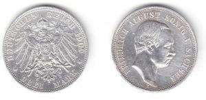 3 Mark Silbermünze Sachsen König Friedrich August 1909 Jäger 135 (111529)