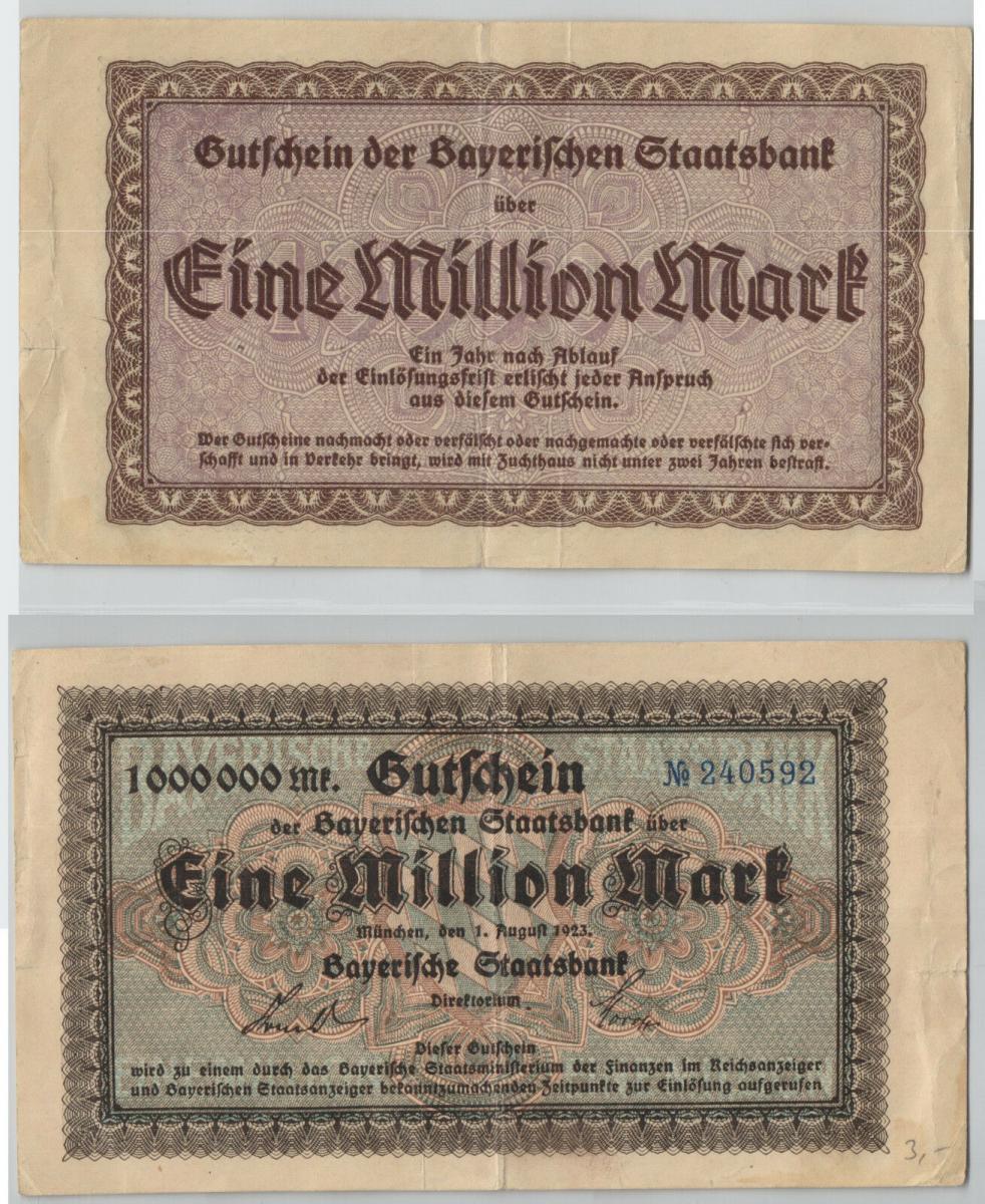 1923 GERMANY  BAYERISCHE STAATSBANK MUNCHEN 10 MILLIONEN MARK 1.8 UNC com