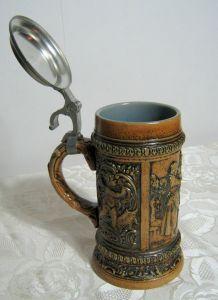 GERZ Bierkrug Seidel Relief Krug Zinndeckel Gemarktet Sammlerstück Repro 1849