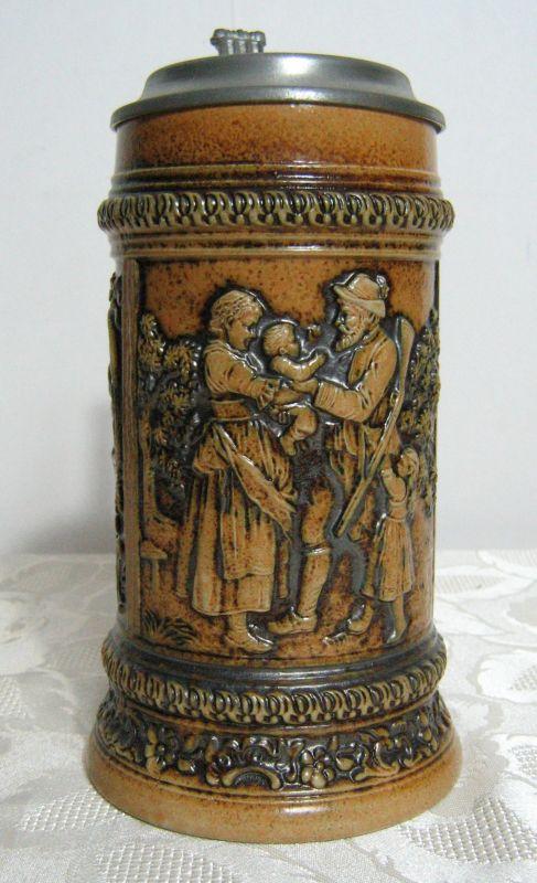 GERZ Bierkrug Seidel Relief Krug Zinndeckel Gemarktet Sammlerstück Repro 1849 3