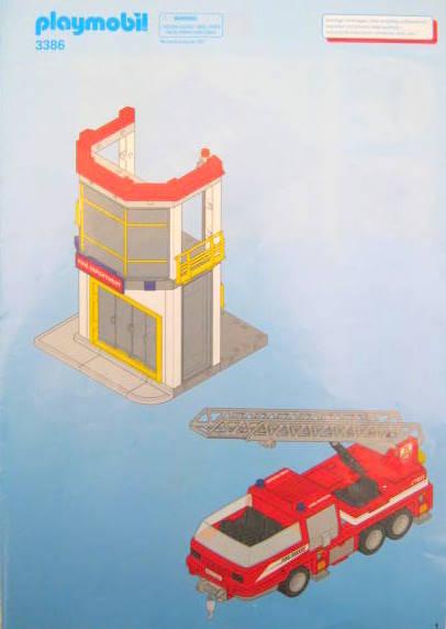 Original PLAYMOBIL Bauplan Anleitung Feuerwehr Leiterwagen 3386